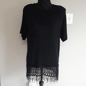 Marshall Rousso Black Fringe Tunic - Size Small